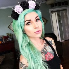 Pastel Green Dyed Hair with Flower Headband