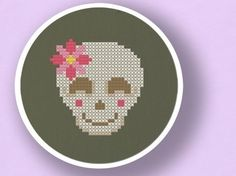 happy skull with a flower