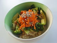 This recipe is inspired by the yummy meals served at the gourmet health food caféLife Alive in Lowell, Massachusetts. Every time I visit my family back East, I look forwared to enjoying one of their entree bowls. I'm so excited that I have been able to approximate the flavor of their meals,