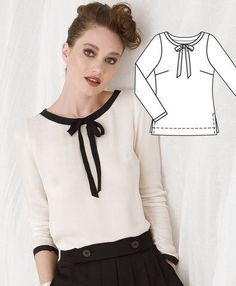 Burda Style blouse - comes in long sleeve, shell and tunic length (well, dress length but I'd trim it) Sewing Patterns Free, Clothing Patterns, Dress Patterns, Burda Patterns, Diy Fashion, Ideias Fashion, Sewing Blouses, Bow Shirts, Diy Vetement