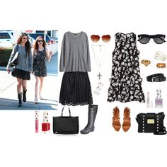 """""""2 Charming Outfits: Selena Gomez & Lily Collins Inspired + Video!"""" by ladylikecharm on Polyvore omg I can't decide who's outfit I like more and almost everything is from topshop!!! Eeeep:D"""