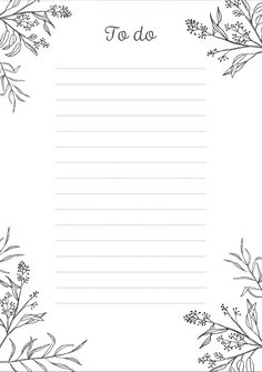 Here's a simple and elegant to-do list with a black design of leaves and tiny plants on a white background. Just click the image to see a larger printable version. Bullet Journal Banner, Bullet Journal Ideas Pages, Bullet Journal Inspiration, To Do Planner, Planner Pages, Weekly Planner, To Do Lists Printable, Printable Planner, Free Printables