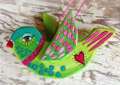 Hand Painted Bird Ornament Boho Style on Etsy, $22.00
