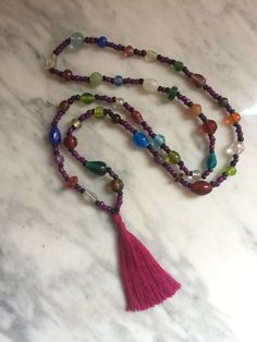 colorful glassbead necklace with happiness tassel by happymala Handmade Jewelry, Unique Jewelry, Handmade Gifts, Alley Cat, Tassel Necklace, Jewerly, Tassels, Happiness, Yoga