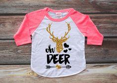 Oh Deer Shirt Kid's Raglan Girl's Shirt Baby by HauteBelliesShop