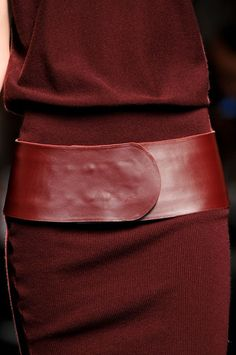 Just right for fall and winter - mini-ribbed maroon sweater dress with bold leather belt to match. ~Allude Fall 2012  #maroon #burgundy #dress