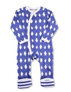 Penguin Kimono Romper - Organic Cotton