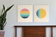 sunset and moon phases  geometric prints on canvas modern wall art minimal art vintage modern art print canvas prints speckle splatter texture