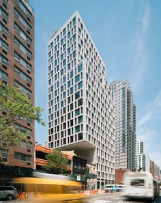 The unusual massing of this building by S9 Architecture and Perkins Eastman responds to development rights that were bought for airspace next to the tower.