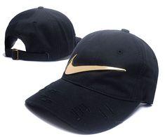 fab78e1b1a569 Men s   Women s Nike Big Swoosh Metal Golden Vintage Adjustable Dad Hat -  Black   Gold