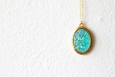 Turquoise Iridescent DruzyLike Pendant and Brass Chain by d3bz