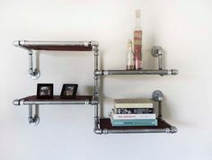 Galvanized Pipe Shelves with Stained Reclaimed by DerekGoodbrand