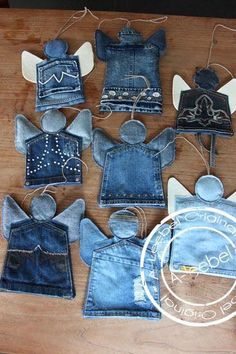 New Photos Tooth fairy pockets? Tips I enjoy Jeans ! And much more I like to sew my own Jeans. Next Jeans Sew Along I'm likely to sho Jean Crafts, Denim Crafts, Christmas Crafts, Christmas Decorations, Christmas Ornaments, Christmas Angels, Christmas Tree, Artisanats Denim, Denim Purse