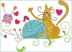 Embroidery Whimsical Sewing Cat