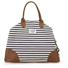 Is there anything better than the look of navy and white stripes with leather? denim stripe weekender. #gifts $106
