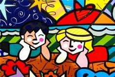 Beach buddies by Romero Britto Arte Pop, Willem De Kooning, Paz Hippie, Jackson Pollock, Pop Art Andy Warhol, Brazil Art, Painting Wallpaper, Wallpaper Desktop, Girl Wallpaper