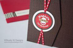Sock Monkey Birthday tri-fold Invitation with photos, envelopes & wrap around labels by StudioWDesigns on Etsy, $4.20