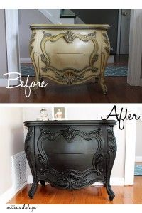 Before and After Black Painted Bombay Chest Transformation using Folk Art Home Decor Chalk Paint in Rich Black.