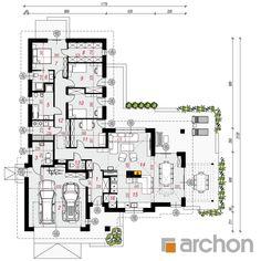 gotowy projekt Dom w grandarosach rzut parteru Dream House Plans, House Floor Plans, Small House Design, House Layouts, Planer, Bungalow, Decoration, Sweet Home, Construction