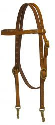 Argentina Cow Leather Headstall w/ Solid Brass Buckles – 12996
