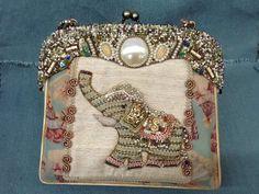 Mary Frances Elephant Beaded Evening/Shoulder Bag Clutch Oriental Fans Soft EUC #MaryFrances #ShoulderBag