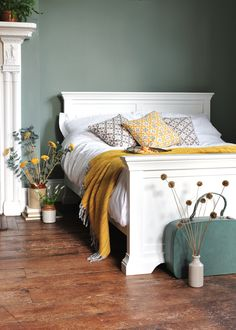 Chantilly Double Bed - White Painted Bed