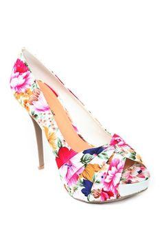 Floral Fabric Peep Toe