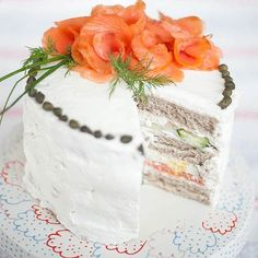 1. Smörgåstårta: Swedish Sandwich Cake: This gorgeous cake would be a stunning main course for a brunch-themed party. Layers of smoked salmon, cucumber and egg are begging to be eaten with a spicy Bloody Mary. Use a cake pan to gauge the size and shape you want your cake to be. (via Pretty Prudent)