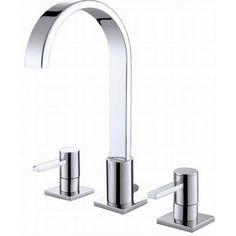 Double Handle Bathroom Sink Faucet Long Neck Waterfall