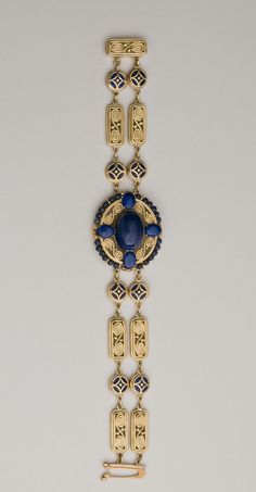 Lapis, gold, enamel bracelet. Attributed to Meta Overbeck for Louis Comfort Tiffany. Design F5165. Signed Tiffany & Co. Collection of Morse Museum.