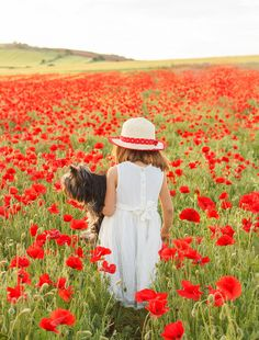 poppies, girl + dog #candid #portrait #photography