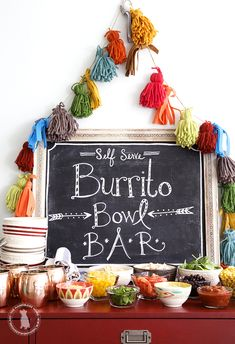 Burrito Bowl Bar | Dinner Party | Buffet Inspiration | Party Decoration | Wedding Inspiration | Inspo | Entertaining Idea