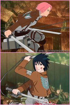 Sasuke and Sakura. Naruto/Shingeki no Kyojin crossover