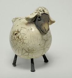 White Sheep raku fired by Barbara Glynn Prodaniuk