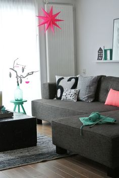 My Attic: Decorating {LOVE the black couch and simple living space}