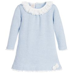 Paz Rodriguez Baby Girls Blue Wool Knitted Dress