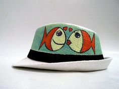 885d439ed7e Custom Hand painted hat Summer by FashionTaboo on Etsy