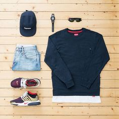 """WEBSTA @ jaybeezishangintough - today's #outfitgrid #Supreme pocket longsleeve / Supreme x #Hanes tee / Supreme pique camp cap / #Garbstore cut-off denim shorts / #Nike air presto flyknit ultra """"olympic pack"""" / #ALIFE x #Casio watch / #Rayban new wayfarer shades@outfitgrid @dennistodisco #supremenewyork #BasementApproved #strassenmodekultur #presto #airpresto #flyknit #ootd #outfitoftheday #streetwear #streetstyle #menswear #mensfashion #menwithstreetstyle #womft #casuals #casualstyle…"""