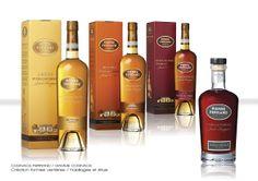 Cognacs Ferrand - Gamme Cognac Pierre Ferrand - Création formes verrières + habillages + étuis.
