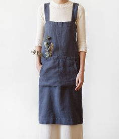 Dark Grey Pinafore Stone Washed Linen Apron by LinenTales on Etsy
