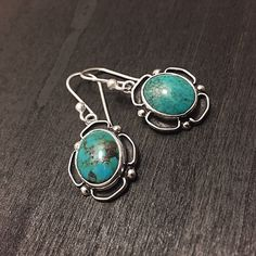 """Sterling Silver & Turquoise Earrings Stamped """"Sterling"""".   This is not a stock photo. The image is of the actual article that is being sold  Sterling silver is an alloy of silver containing 92.5% by mass of silver and 7.5% by mass of other metals, usually copper. The sterling silver standard has a minimum millesimal fineness of 925.  All my jewelry is solid sterling silver. I do not plate.   Hand crafted in Taxco, Mexico.  Will ship within 2 days of order. Jewelry Earrings"""