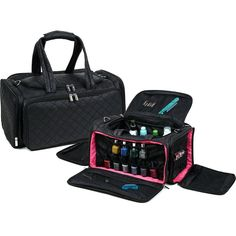 Large and lightweight makeup storage bag Additional storage available on all 4 sides of the bag Main section offers an open compartment for large items Side pouches offer storage for nail polish bottles Comes with shoulder strap Measures: x x Makeup Storage Bag, Bag Storage, Toe Nail Designs, Nail Polish Designs, Nail Mania, Sew In Weave, Bags Travel, Nail Polish Bottles, Nail Tools