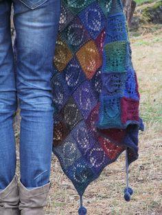 """Blue-eyed"" (knitted shawl, wrap, knitting, entrelac)"