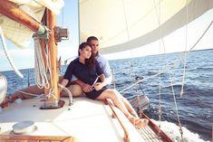 Nautical engagement shoot, chartered sailboat in Miami / Erika Delgado Photography