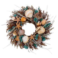 Assorted dried grass and seashell wreath.  Product: WreathConstruction Material: Natural avena, grass, phalaris, asso...