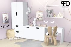 "foreverdesigns: "" Katies Kids Room Pt.2 This set includes: • Wing Chair - 2 swatches • Pillow - 6 swatches • Desk • Miffy Lamp • Toy Box • Dresser • ""Mrs. Mighetto"" Poster hanger - 16 swatches • Toy..."