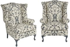 Pair of vintage wingback armchairs newly lacquered and upholstered in a blue-gray and cream damask print.