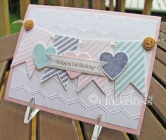 Hearts A Flutter stamp set and Framelits, Itty Bitty Banners stamp set and Framelits, Colors - Pink Pirouette, Soft Sky & Wisteria Wonder