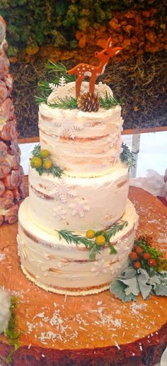 Winter Woodland baby shower themed cake