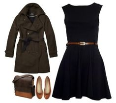 Simple black dress, casual or dressier, with a brown/camel belt.